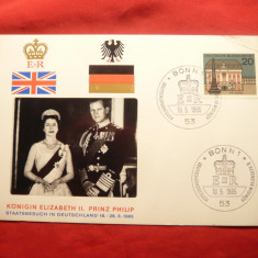 Carton filatelic aniversar - Vizita perechii Regale a M.Britanii in RFG 1965