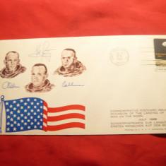 Carte Postala Aniversara - Cosmos -Aselenizarea 1969, autografe cosmonauti