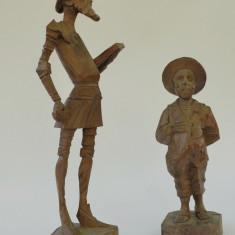 Lot 2 figurine, sculptura in lemn, Don Quijote si Sancho Panza 33cm inaltime