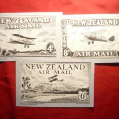 3 Cartoane- Desene originale James Barry - pt. Serviciul Posta N.Zeelanda 1932