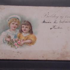 CARTE POSTALA TIP FELICITARE, 1900- 1904- CIRCULATA IN UNGARIA- DOI COPII., Printata