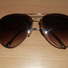 Ochelari de soare Aviator, Unisex, Maro, Ovali, Metal