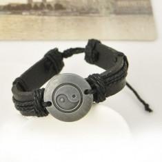Bratara Piele Unisex Yin Yang - Retro Style - Culoare  Negru