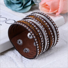 Bratara dama Fashion bratari multiple curea capse cristale + ambalaj cadou