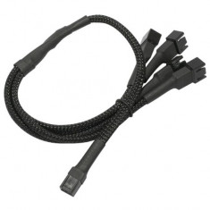 Cablu adaptor pentru ventilatoare Nanoxia 1x 3 pini la 4x 3 pini, 30 cm, negru
