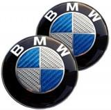 Emblema / Logo / Sigla  BMW  Din Fibra De Carbon 82mm - Alb cu Albastru