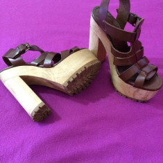 Sandale din piele, Zara - Sandale dama Zara, Culoare: Maro, Marime: 36