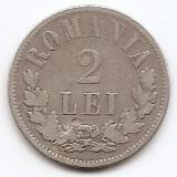 Romania 2 Lei 1873 – Carol I, Argint 10g/835, MV1-5 , 27 mm KM-8