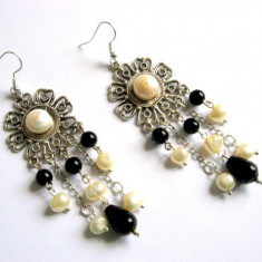 Cercei onix si perle naturale 28814 - Cercei perla