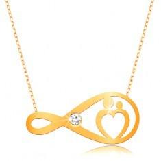 Colier din aur 375 - lanț fin, simbolul infinitului cu zirconiu transparent și inimă - Colier aur