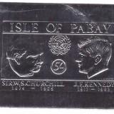 "Pabay 1966 - Churchill&Kennedy, colita ndt folio ""argint"" - Timbre straine"