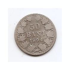 Romania 50 Bani 1894 – Carol I, Argint 2.5g/835, MV1-3, 18.6 mm KM-23 - Moneda Romania