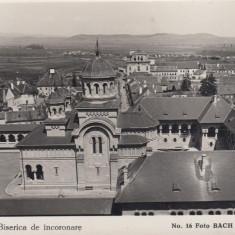 ALBA IULIA BISERICA DE INCORONARE FOTO BACH ALBA IULIA 1931 - Carte Postala Transilvania dupa 1918, Necirculata, Fotografie