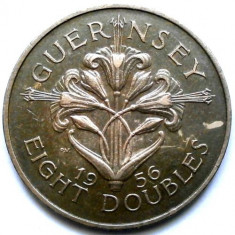 BRITISH GUERNSEY, 8 DOUBLES 1956, TIRAJ 500.000EX., URIASA 31mm., Europa, Cupru (arama)