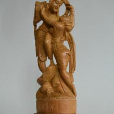 Sculptura in lemn, statueta hindusa RADHA si KRISHNA