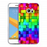 Husa HTC 10 Silicon Gel Tpu Model Colorful Cubes - Husa Telefon
