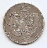 Romania 5 Lei 1883 – Carol I, Argint 25g/925, MV1-12 , 37 mm KM-17,1