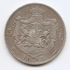 Romania 5 Lei 1883 – Carol I, Argint 25g/925, MV1-12, 37 mm KM-17, 1 - Moneda Romania