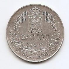 Romania 250 Lei 1941 – Carol II, Argint 12g/835, MV1-18, 30 mm KM-59 - Moneda Romania