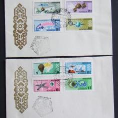 MONGOLIA - COSMONAUTICA, 2 FDC-URI OBLITERATE - IM 0918