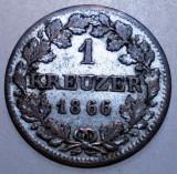 E.161 GERMANIA BAVARIA BAYERN 1 KREUZER 1866 XF 0,83g ARGINT, Europa