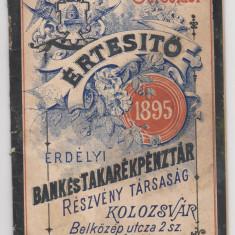 1895 ERDELYI BANK -- Banca Transilvania -- KOLOZSVAR Cluj-- brosura investitori