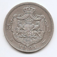 Romania 5 Lei 1901 – Carol I, Argint 25g/925, MV1-14, 37 mm KM-17, 2 - Moneda Romania