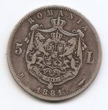 Romania 5 Lei 1881 – Carol I, Argint 25g/925, MV1-8 , 37 mm KM-12