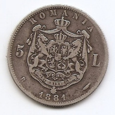 Romania 5 Lei 1881 – Carol I, Argint 25g/925, MV1-8, 37 mm KM-12 - Moneda Romania