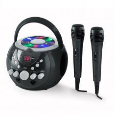 Auna SingSing, sistem de Karaoke portabil, LED-urile func?ioneaza utilizând baterii, 2 x microfon - Echipament karaoke