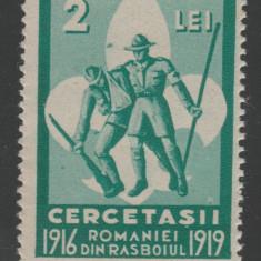 Romania 1934 - Timbru fiscal 2 Lei Cercetasii Romaniei in primul razboi mondial - Timbre Romania, Militar, Nestampilat