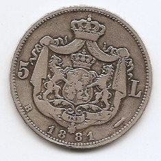 Romania 5 Lei 1881 – Carol I, Argint 25g/925, MV1-10, 37 mm KM-17, 1 - Moneda Romania