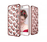 Husa TPU transparenta cu inimioare iPhone 6 / 6S silicon moale GOLD / ROSE GOLD, iPhone 6/6S, Transparent