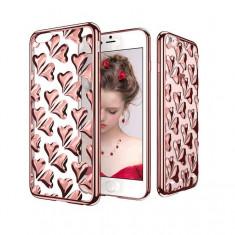 Husa TPU transparenta cu inimioare iPhone 6 / 6S silicon moale GOLD / ROSE GOLD