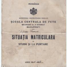 CARNET NOTE 1925-1926, DEOSEBIT - Diploma/Certificat