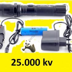 Lanterna cu electrosoc 25.000kv incarcator auto si apartament acumulator