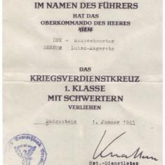 CERTIFICAT DE ACORDARE STEAUA CRUCEA RAZBOIULUI, GERMANIA 1945 - Pasaport/Document, Europa