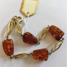 BRATARA AUR 8K CU CHIHLIMBAR- AMBRA, Carataj aur: 9K, Culoare Aur: Galben, 9 carate