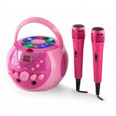 Auna SingSing, Sistem Karaoke portabil, LED-uri, funcționare pe baterii, 2 x microfon - Echipament karaoke