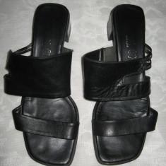 Sandale/ papuci piele naturala neagra Mar 41/ 41, 5 - Sandale dama, Culoare: Negru