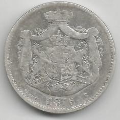 2 LEI 1876 ARGINT STARE BUNA SPRE FOARTE BUNA - Moneda Romania