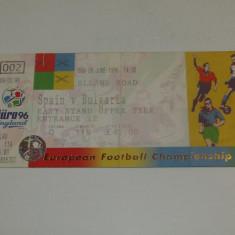 Bilet meci fotbal SPANIA - BULGARIA (Campionatul European Anglia 09.06.1996)