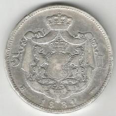5 LEI 1881 REGE ARGINT STARE BUNA SPRE FOARTE BUNA - Moneda Romania
