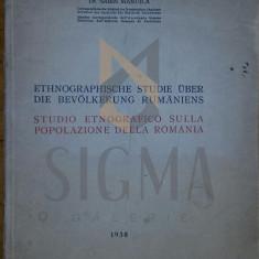 STUDIO ETNOGRAFICO SULLA POPOLAZIONE DELLA ROMANIA, 1938 - SABIN MANUILA - Carte de colectie