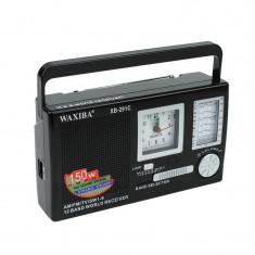 Radio portabil cu ceas Quartz, 12 frecvente radio, control volum, Waxiba - Radio cu ceas