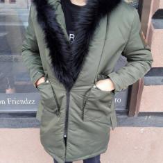 Geaca barbati de iarna Lunga IGA groasa de fas Khaki cu blana slim fit fashion