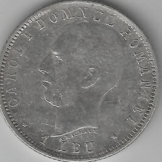 1 LEU 1906 FARA PUNCT INTRE A MICHAUX ARGINT STARE BUNA - Moneda Romania