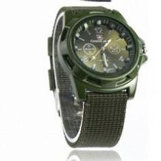 Ceas army sport DESIGN bratara material textil verde inchis + ambalaj cadou