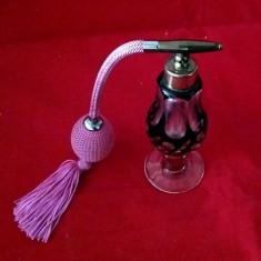 STICLA PARFUM FUNCTIONALA STICLA CRISTAL RUBIN 14CM ART DECO - Sticla de parfum