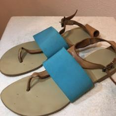 Sandale Crem-Turquoise - Sandale dama Zara, Marime: 37